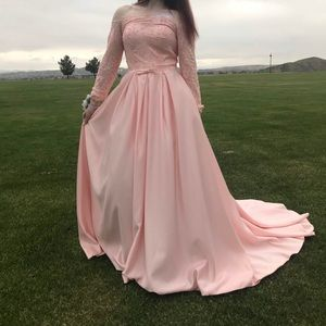 Pink Long Sleeve Off the Shoulder Bow Beaded Gown